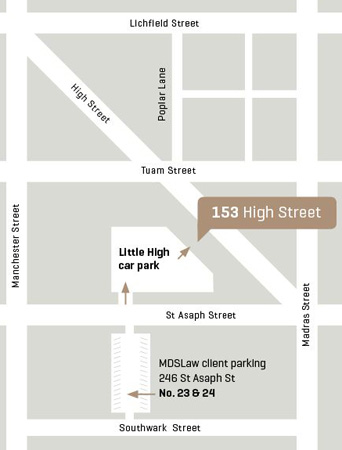 {mds} law location at 153 High Street, Christchurch City